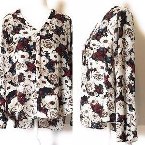 Rose & olive blouse, Sz med, floral, cream/multi